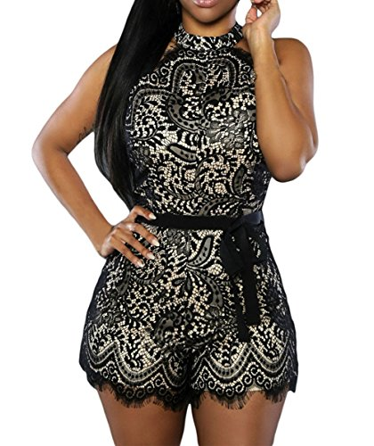 Womens Sexy Lace Overlay Sleeveless Part - Black Clubwear Outfit Shopping Results
