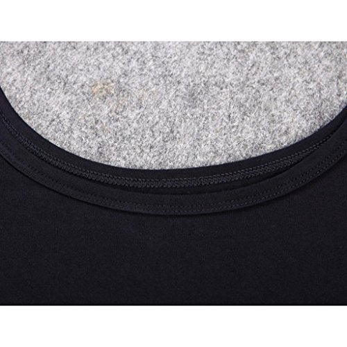 Liang Rou Women's Plain Basic Scoop Neck Thin Stretch Long Sleeve Top Black S XS-S (0 2 4 6) 1 Piece Black by Liang Rou (Image #7)