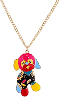 LUREME Cute Animal Jewelry Alloy Colorful Enamel Pet Dachshund Dog Pendant Necklace (nl006023)