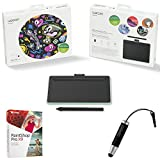 Wacom Intuos Creative Pen Small Green Wireless Bluetooth Tablet Bundle includes Tablet, Corel Paint Shop Pro X9 Digital Download Card and Wacom Bamboo Stylus Mini (CTL4100)