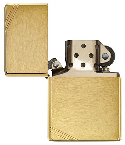 ZippoVintage Brushed Brass with Slashes Pocket Lighter