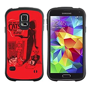 Hybrid Anti-Shock Bumper Case for Samsung Galaxy S5 / Silly Cat Poster