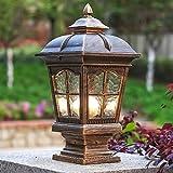 Xungzl Pillar Lamp European-Style Simplicity Waterproof Antirust Aluminum Column Lamp Outdoor LED Post Light Garage Pavilion Courtyard Courtyard Lighting (Color : Bronze)