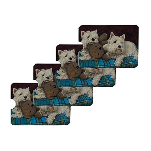 Westie West Highland White Terrier Dogs Teddy Bear Credit Card RFID Blocker Holder Protector Wallet Purse Sleeves Set of 4 (Wallet Westie)