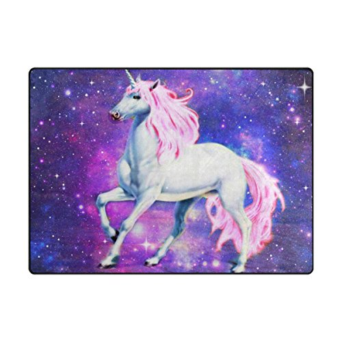 (INGBAGS Super Soft Modern unicorn Horse Area Rugs Living Room Carpet Bedroom Rug for Children Play Solid Home Decorator Floor Rug and Carpets 5'3 x 4' - Feet)