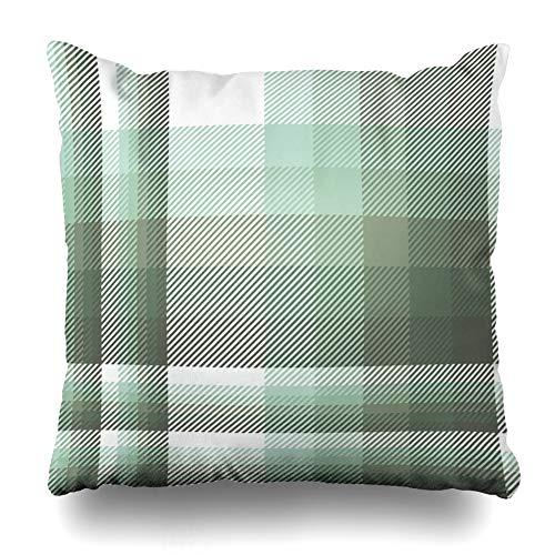 Ahawoso Throw Pillow Cover Pillowcase Flannel Green All Plaid Pattern Celadon Artichoke Pyjamas Abstract Over British Checker Chequer Home Decor Design Square Size 20