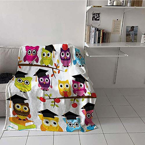 (Children's Blanket Girl Blanket for Sofa Couch Bed (60 by 80 Inch,Owls Home Decor Collection,Group of Smart Owls with Books Apples Hats Degree School Graduation Image,Black Purple Magenta)