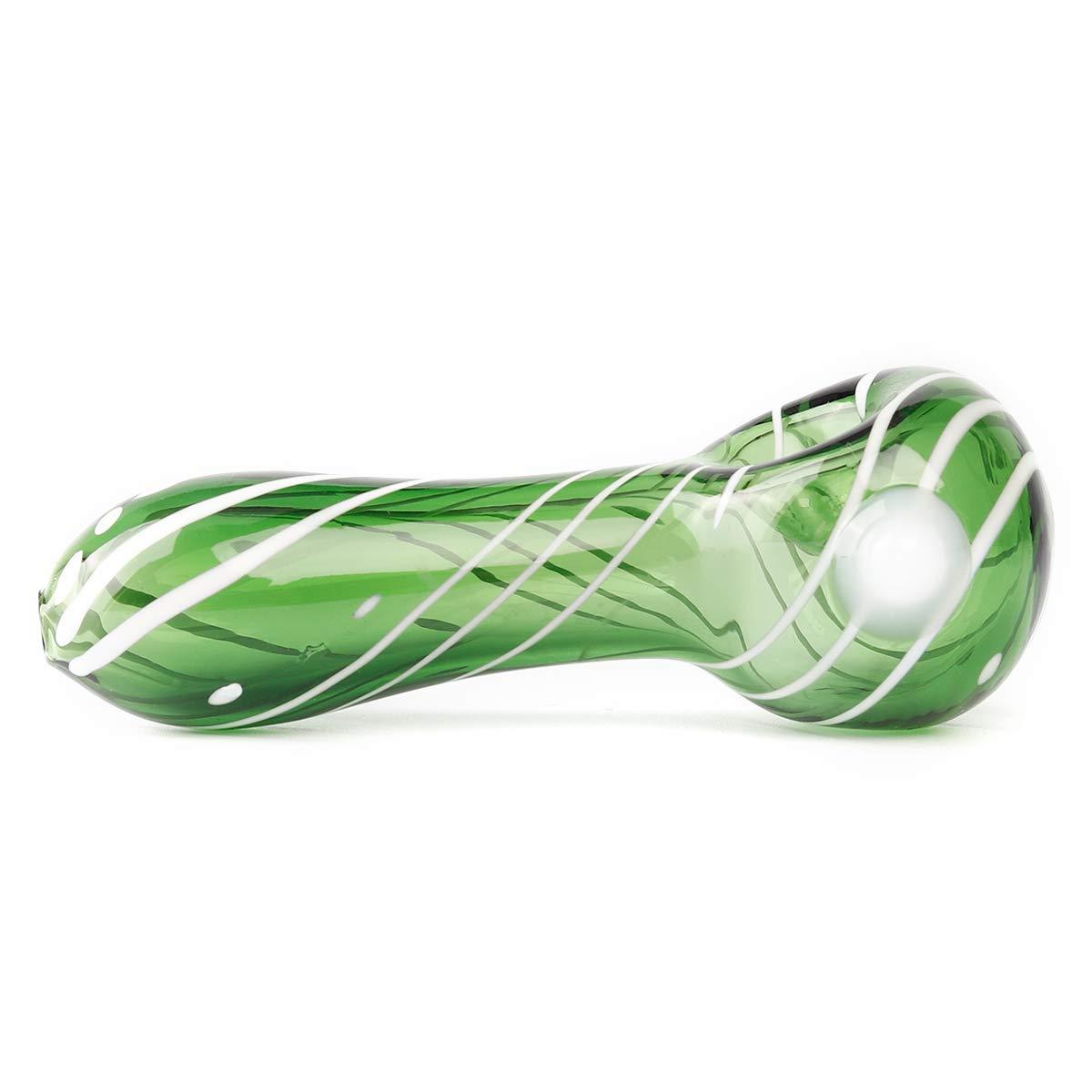 Borosilicate Glass Spoon Hand Pipe HaoCH Handmade Glass Tube Blue 4.4 Inch