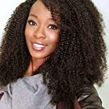 Vogue Queen Afro Kinky Curly 360 Full Lace Band Frontal Wig 180% High Density Pre Plucked Natural Hairline with Baby Hair 4B 4C (16 inches, Afro Kinky Curly 4B 4C)