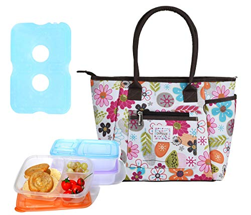 Lunch Bag Set by Dimayar Lunch Tote with Ice Pack and 3 Pieces of Lunch Box Sandwich Kit Food Storage Container,Full Zipper Closure Insulated Lunch Bag Ice Pack Lunch Box Containers for Adults