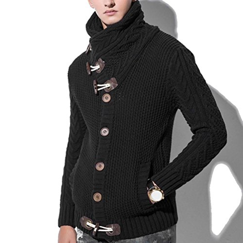 WM & MW Men's Cardigan Fashion Winter Long Sleeve Casual Horns Button-up High Neck Sweater Jacket Knitting Coats Outwear Tops (L=(US:M), Black) (Shop Long Apparel Horns Sleeve)