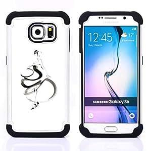 """Samsung Galaxy S6 / SM-G920 - 3 en 1 impreso colorido de Altas Prestaciones PC Funda chaqueta Negro cubierta gel silicona suave (Mujer bailarina de flamenco Blanca"""")"""