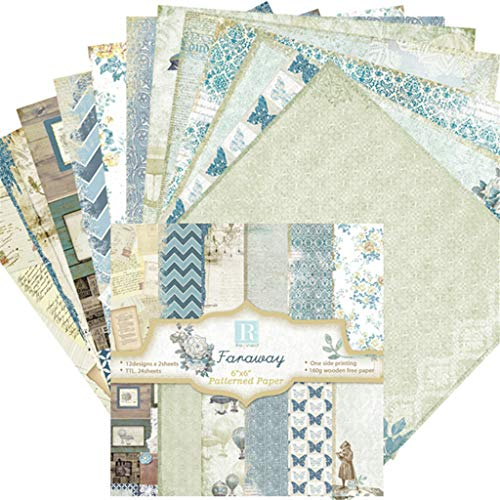 Mayunn 24 Sheets Europe Style Stamped Paper Pattern Vintage Scrap Booking Stamped Paper Flowers Roman DIY Photo Album Scrapbook - Blue ()