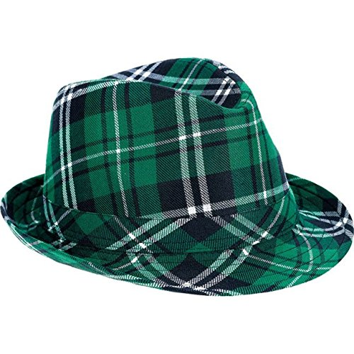 St. Patrick's Day Plaid Fedora Hat Costume Party Head Wear Accessory (1 Piece), Green, 5 1/8