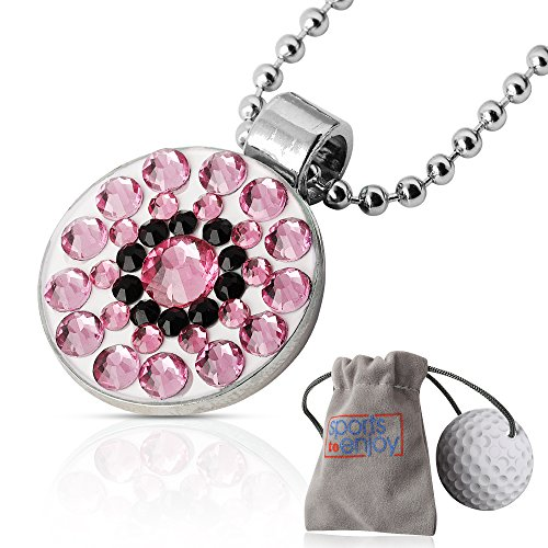 lifetoenjoy Golf Ball Marker Necklace for Women - Bonus: Velvet Pouch for safekeeping - Always Have Your Marker Easily Available - Beautiful Bling Light Pink Crystals -with Super Strong Magnet Ball Marker Adjustable Hat