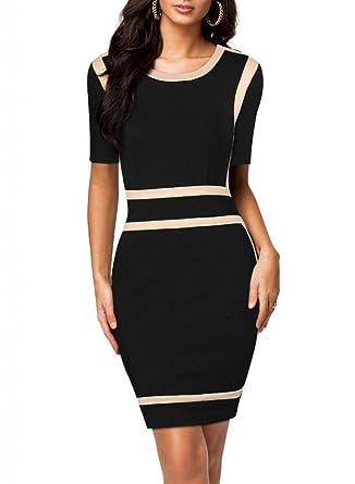 Mode Damen Office Ladies Black Bodycon Stretch Slim Rundhals ...