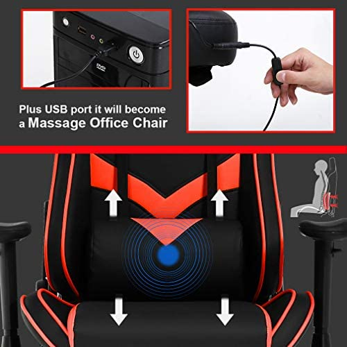 Gaming Chair Massage Office Chair Racing Computer Chair with Lumbar Support Footrest Armrest Headrest Ergonomic Desk Chair Task High Back PU Leather Rolling Swivel Chair for Adults Red