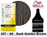 Wella COLOR CHARM PERMANENT Liquid Haircolor Dye (w/Sleek Tint Brush) Excellent Gray Coverage, Floral Fragrance, 1:2 Mix Ratio Hair Color (257 / 4G - Dark Golden Brown)