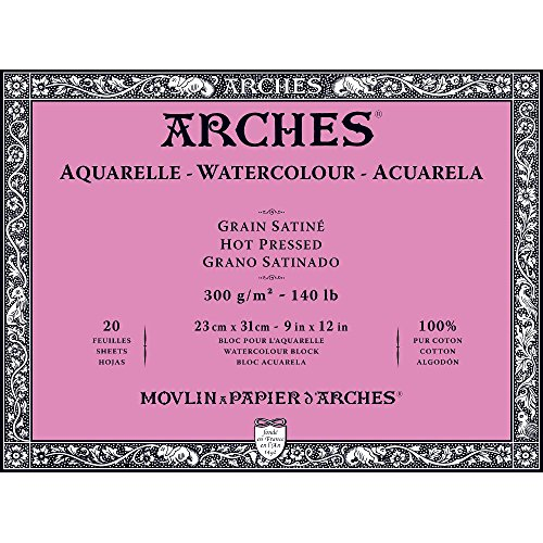Winsor Newton 1795072 No. 140 Arches Watercolor 20 Sheets Hot Pressed 20 Pages Paper Block, 9