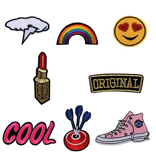 Shineweb DIY Applique, 8Pcs Embroidery Cool Rainbow Smile Lipstick Sew Iron On Patch Badge Bag Hat - Hat Embroidered Embossed