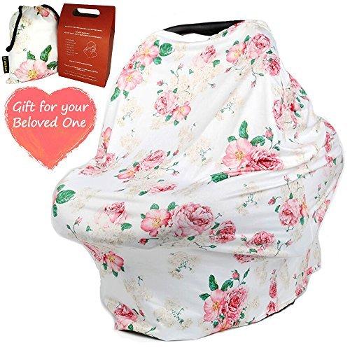CozyBomB - Toldo de lactancia para bebés y madres recién nacidas, diseño floral, suave y boceto, carrito de la compra,...