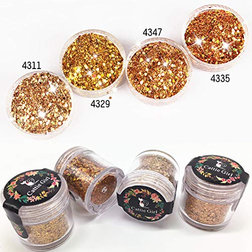 Cattie Girl 4 Box Gold Glitter Flakes Holographic Laser Powder Ultra Fine + 1mm Cosmetic Glitter Sequins Mixed Glitter Paillettes Mermaid Glitter for Makeup Eyeshadow Body Art