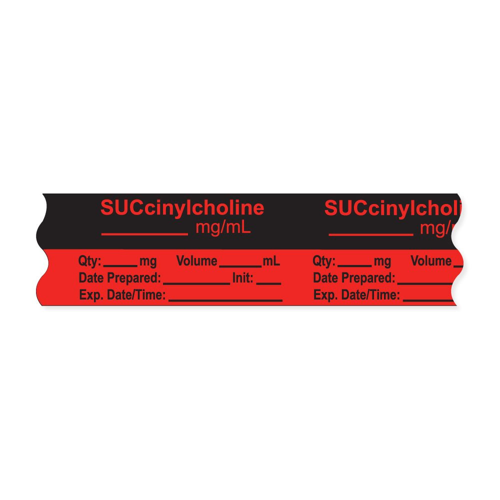 PDC Healthcare AN-2-20 Anesthesia Tape with Exp. Date, Time, and Initial, Removable, ''SUCcinylcholine mg/mL'', 1'' Core, 3/4'' x 500'', 333 Imprints, 500 Inches per Roll, Fl. Red (Pack of 500)