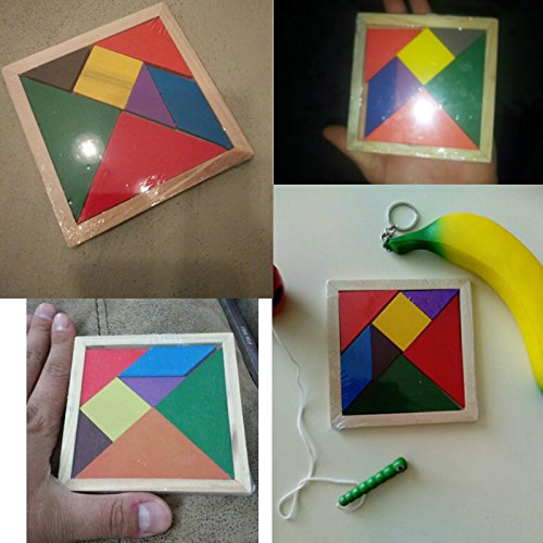 Wooden Educational Toys - Quality Children Mental Development Tangram Wooden Jigsaw Puzzle Educational Toys for Kids - Triangle Jigsaw -