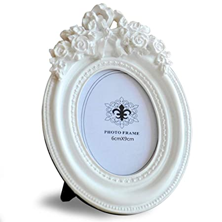 Giftgarden White Photo Frame Rose Decor Oval Frames for Birthday ...