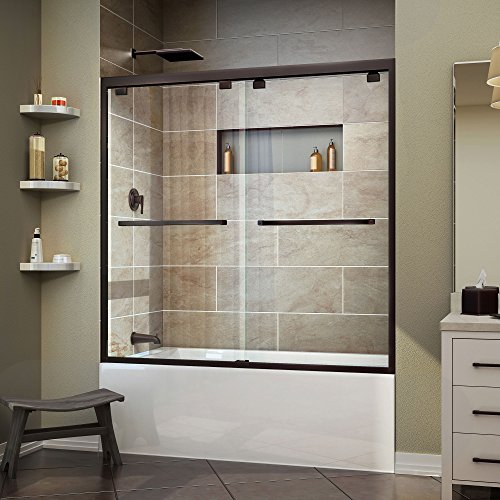 DreamLine Encore 56-60 in. W x 58 in. H Frameless Semi-Frameless Bypass Tub Door in Oil Rubbed Bronze, SHDR-1660580-06 by DreamLine