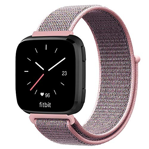 Fintie Bands Compatible with Fitbit Versa & Versa Lite & Versa Special Edition, Soft Nylon Sport Loop Replacement Wristband Strap with Fastener Adjustable Closure, Pink Sand ()