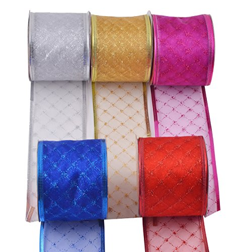 "eZthings Decorative Wired Sheer Glitter Ribbon for Christmas Gift Wrapping and Holiday Decor (50 Yards (2.5"" Width), Gold - Silver - Purple - Red - Blue - Classic Set)"