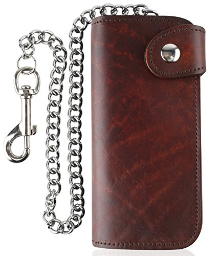 Men's Bifold Vintage Long Style Cow Top Grain Leather Steel Chain Wallet,Made In USA,Snap closure,Antique brown,AB473 (Leather Brown Top Antique)