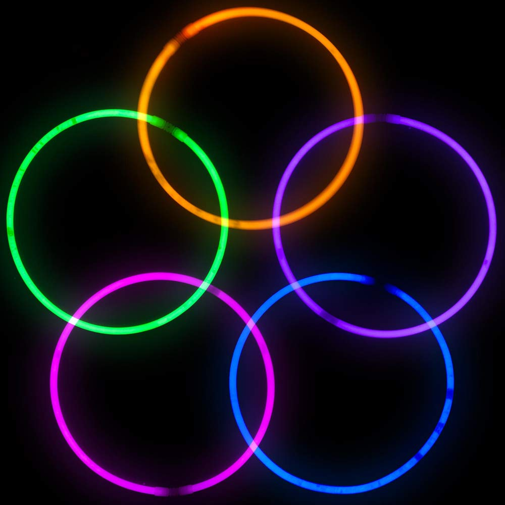 Lumistick Premium 22 Inch Glow Stick Necklaces with Connectors | Kid Safe Non-Toxic Glowstick Necklaces Party Pack | Available in Bulk and Color Varieties | Lasts 12 Hours (Color Assortment, 100) by Lumistick (Image #4)