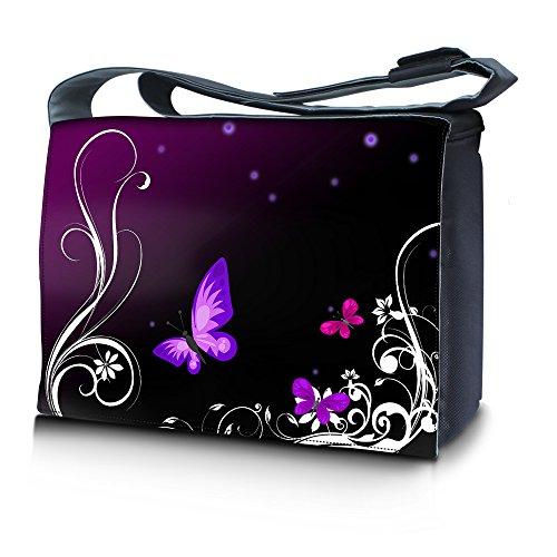 Luxburg® Design bolso bandolera de mensajero, de escuela bolso para portátil ordenadores Laptop Notebook 15,6 pulgadas, motivo: Hombres multicolores Mariposa lila