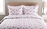 Elite Home Microfiber Whimsical Printed Quilt (Full/Queen, Pink Flamingo)