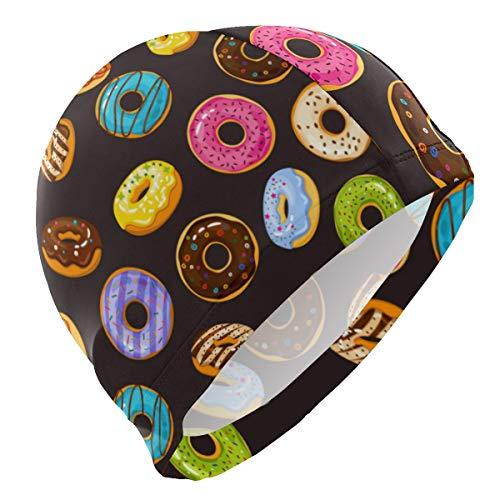 PNGLLD Swim Cap Colorful Donuts Pattern Dessert Swimming Cap for Men Boys Adult Youth Teen Swimming Hat No-Slip
