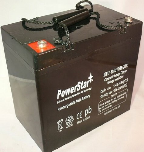 Pride Mobility 12V 55Ah 22NF AGM Deep Cycle Battery Replaces UPG 55ah-2YR Warran by PowerStar