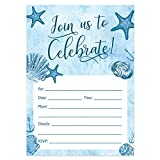Digibuddha Beach Invitations with Envelopes (Pack of 25) Any Occasion Large 5x7'' Fill In Birthday Party, Baby Shower, Housewarming, Bridal Shower, Graduation Excellent Value Party Invites VI0059B