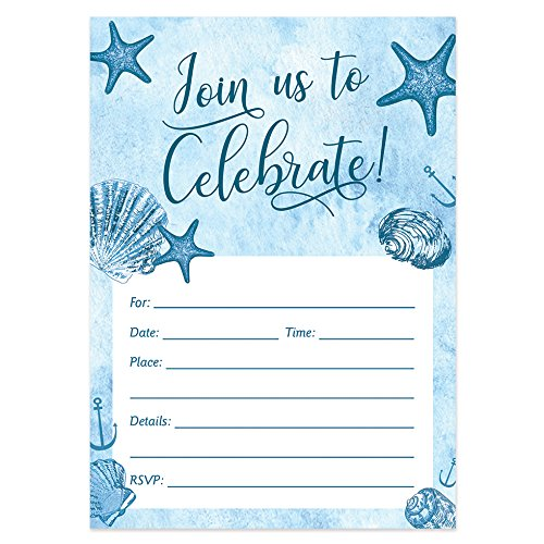 Digibuddha Beach Party Invitations with Envelopes (Pack of 50) Fill-In Milestone Birthday, Retirement Party Invites Excellent Value Wedding, Graduation, Anniversary Party Nautical Invitations VI0059