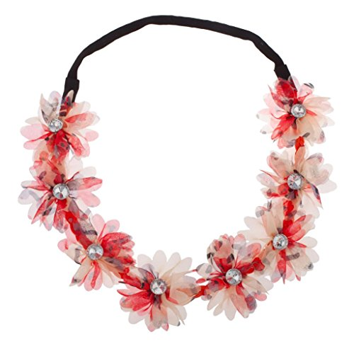 Crystal Band Stretch (Lux Accessories Chiffon Fabric Multi Color Coral Red Flower Floral Crystal Stretch Headband Head Band)
