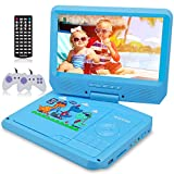 WONNIE 9.5 Inch Kids Portable DVD Player for Car with Games Function, 270° Swivel Screen, USB/SD Card Readers and Built-in Rechargeable Battery ( Blue )
