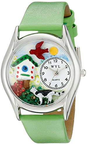 Whimsical Watches Women's S1210009 Birdhouse Cat Light Green Leather Watch