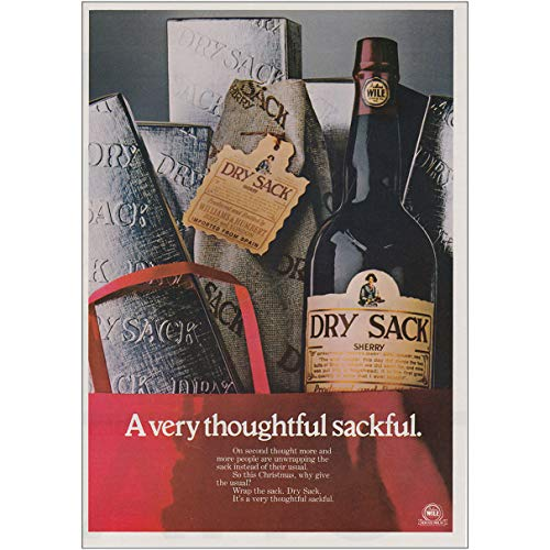 RelicPaper 1979 Dry Sack Sherry: Very Thoughtful Sackful, Julius Wile Print Ad
