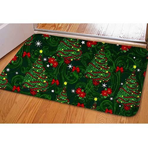 Dellukee Christmas Trees Doormats Green Indoor Outdoor Funny Non Slip Durable Washable Home Decorative Door Mats Rugs for Entrance Bedroom Bathroom Kitchen, 23 x 16 Inches