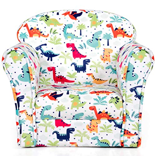 (Costzon Kids Sofa, Children Armrest Chair with Dinosaur Pattern, Toddler Furniture with Sturdy Wood Construction for Boys & Girls, Armrest Couch for Preschool Children, Lightweight Children Sofa Chair)