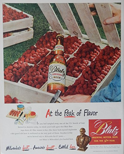 Blatz Beer, 40's Print Ad. full Page Color Illustration (basket of berries) Original Vintage, Rare 1948 Life Magazine Art