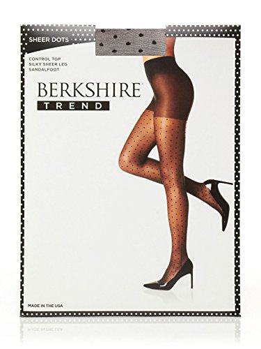 Berkshire Women's Trend Sheer Dot Control Top Pantyhose, Fantasy Black, 3-4 by Berkshire