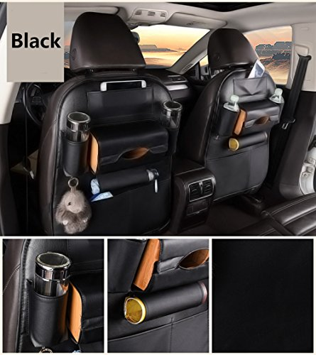UniTendo PU Leather Car Seat Back Organizer Luxurious Muitifunction Heavy Duty Design Anti-kicking Mat One Pair (Black)
