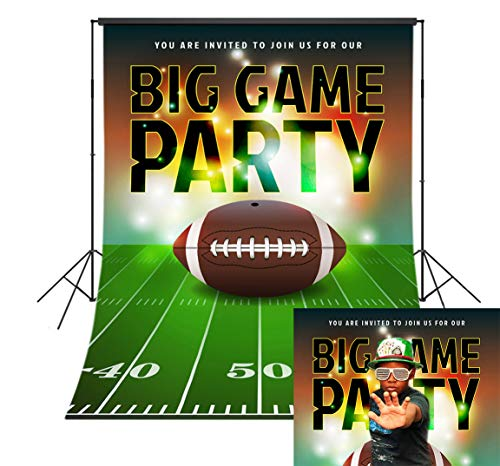 LB American Football Super Bowl Backdrop for Photoshoot 5x7ft Sports Stadium Green Grass Field Photo Backdrop for Kids Birthday Party Photo Booth Backdrop Studio Props,Washable